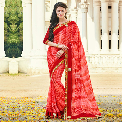 Pink - Red Party Wear Georgette Saree