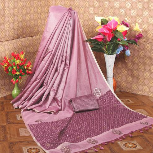 Engrossing Light Purple Colored Festive Wear Cotton Saree
