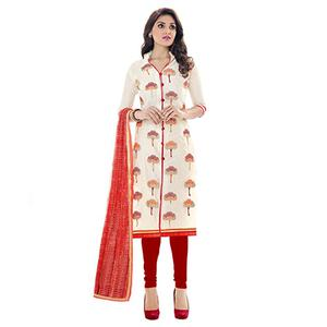 Off White - Red Printed Salwar Suit