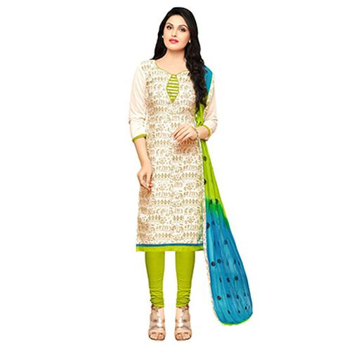 Beige - Green Chanderi Salwar Suit