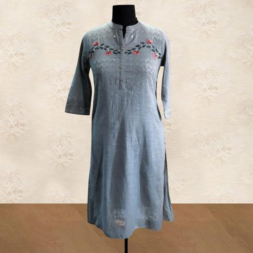Imposing Grey Colored Partywear Embroidered Cotton Kurti