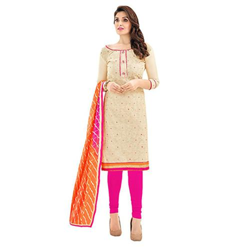 Cream - Pink Chanderi Salwar Suit