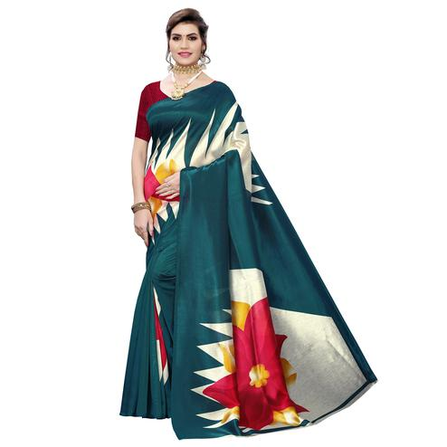 Fantastic Teal Green Colored Casual Wear Printed Art Silk Saree
