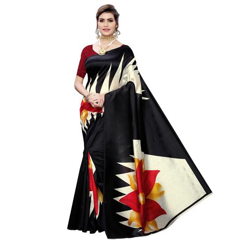 Amazing Black Colored Casual Wear Printed Art Silk Saree