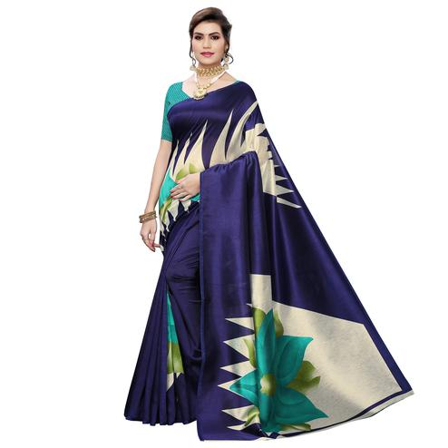 Gorgeous Navy Blue Colored Casual Wear Printed Art Silk Saree
