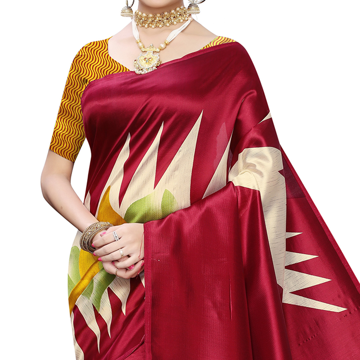 Blissful Red Colored Casual Wear Printed Art Silk Saree