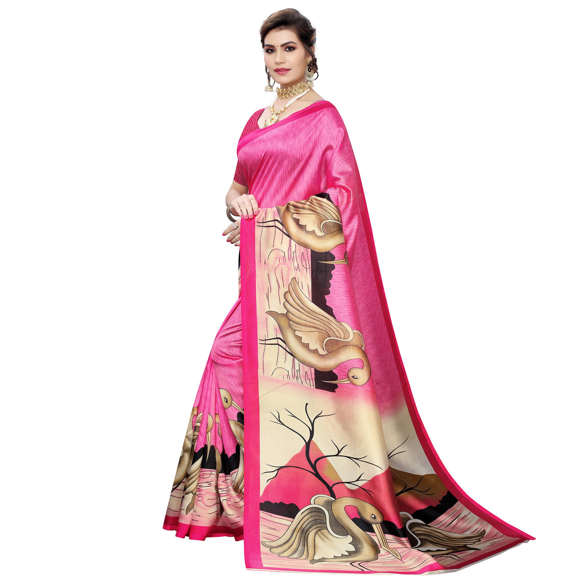 Ideal Pink Colored Casual Wear Bird Printed Art Silk Saree