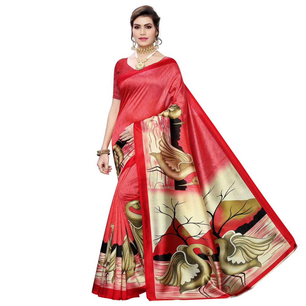 Imposing Gajri Colored Casual Wear Bird Printed Art Silk Saree