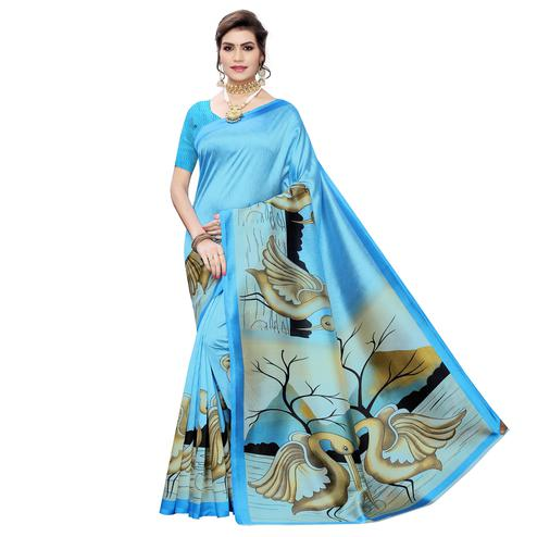 Lovely Sky Blue Colored Casual Wear Bird Printed Art Silk Saree