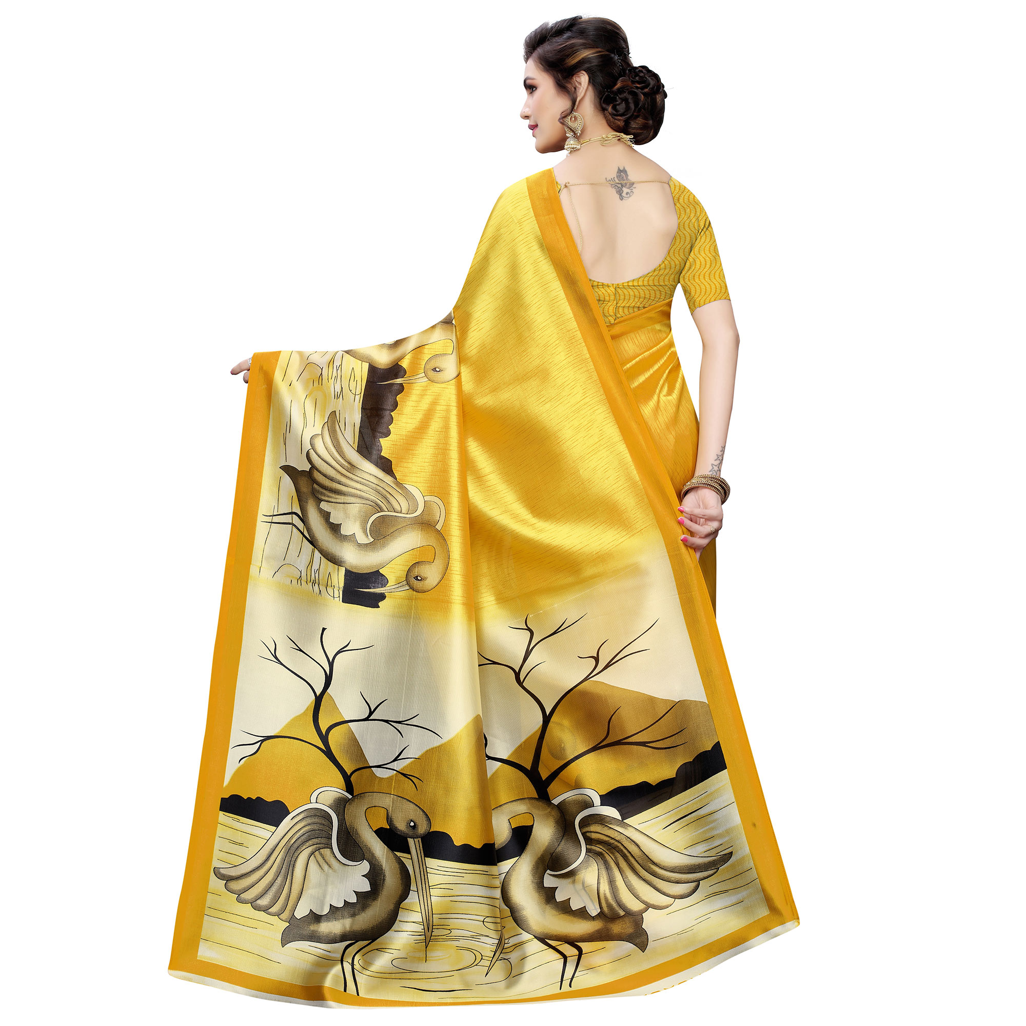 Majesty Yellow Colored Casual Wear Bird Printed Art Silk Saree