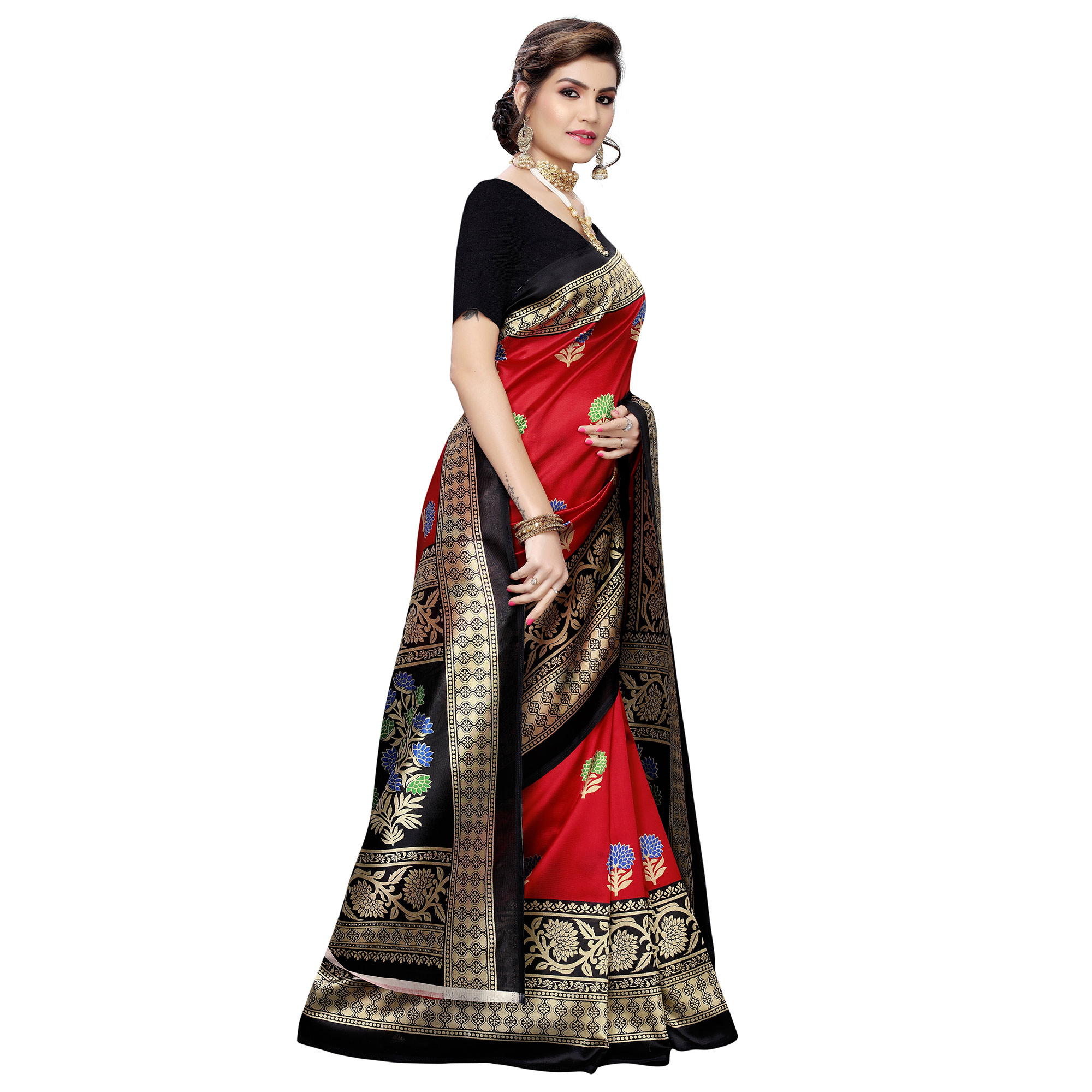 Magnetic Red Colored Casual Wear Printed Art Silk Saree