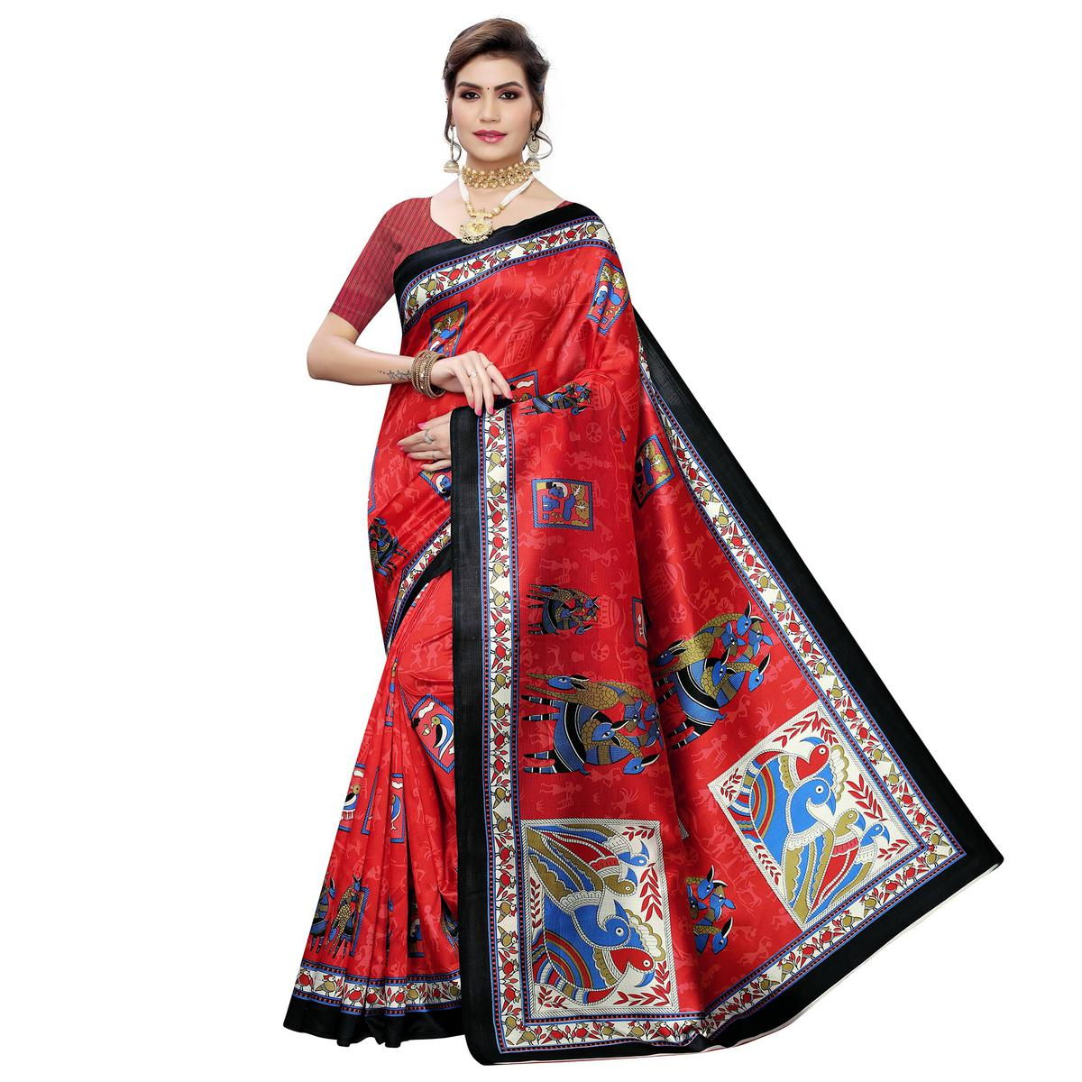 Flattering Red Colored Casual Wear Printed Art Silk Saree