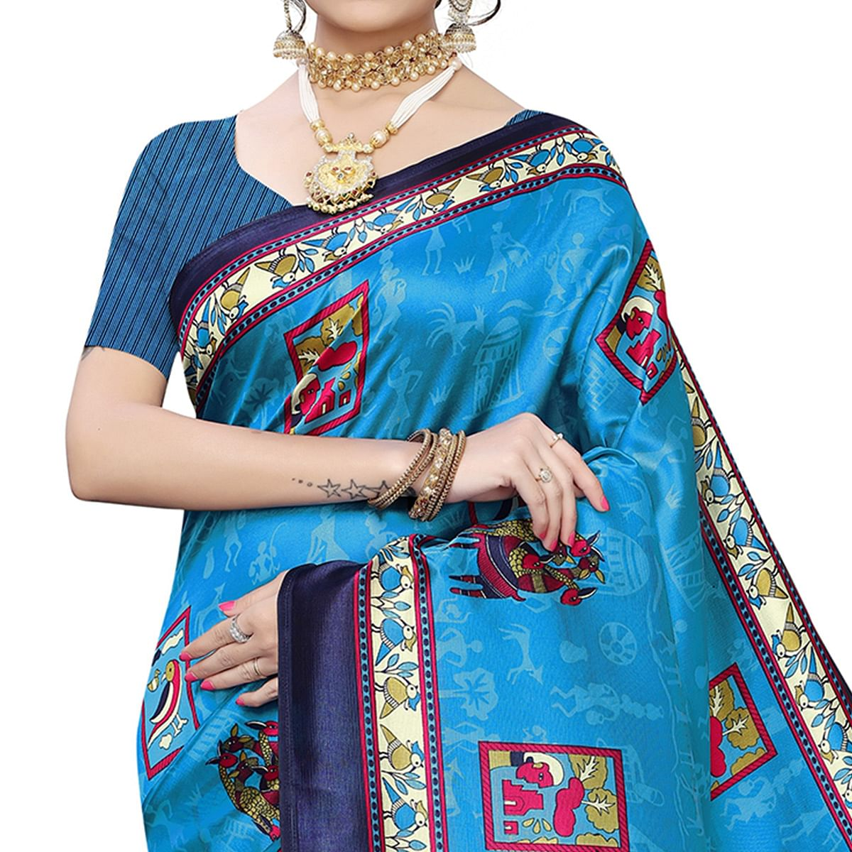 Excellent Blue Colored Casual Wear Printed Art Silk Saree