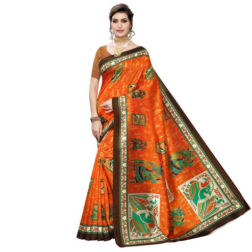 Marvellous Orange Colored Casual Wear Printed Art Silk Saree