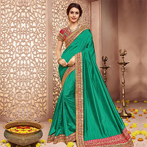 Rama Green Designer Lace Border Work Saree