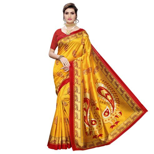 Jazzy Yellow Colored Casual Wear Peacock Printed Art Silk Saree