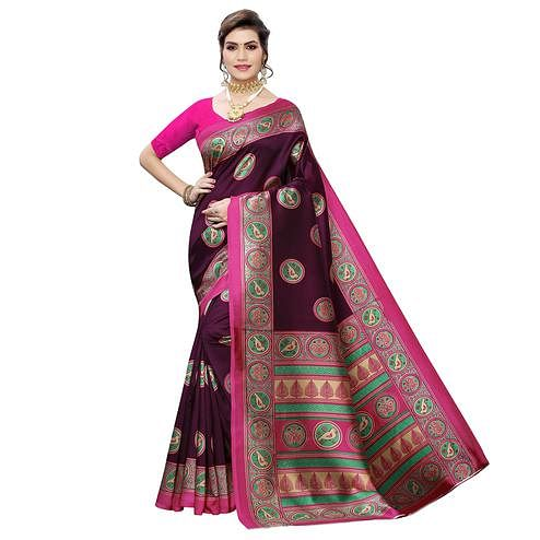 Fantastic Wine Colored Casual Wear Printed Art Silk Saree