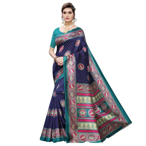 Amazing Navy Blue Colored Casual Wear Printed Art Silk Saree