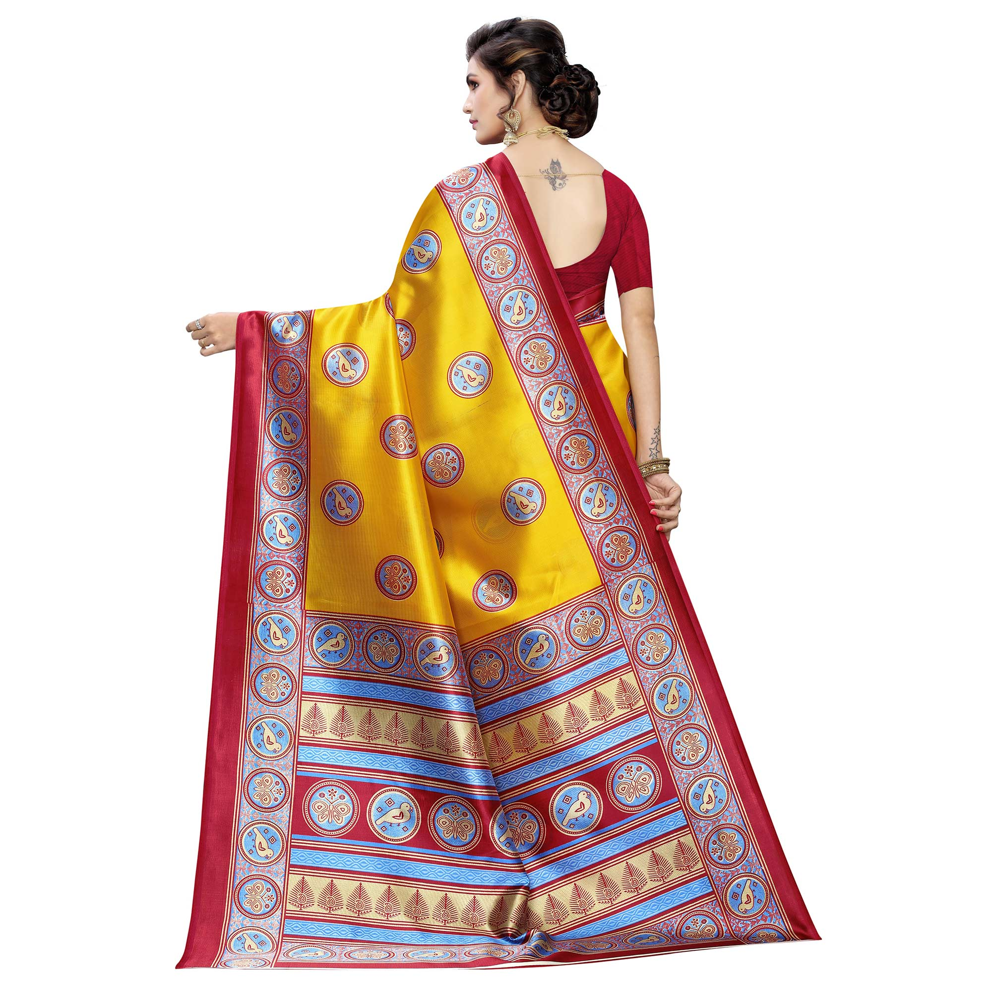 Gorgeous Yellow Colored Casual Wear Printed Art Silk Saree
