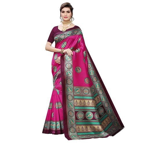 Blissful Pink Colored Casual Wear Printed Art Silk Saree