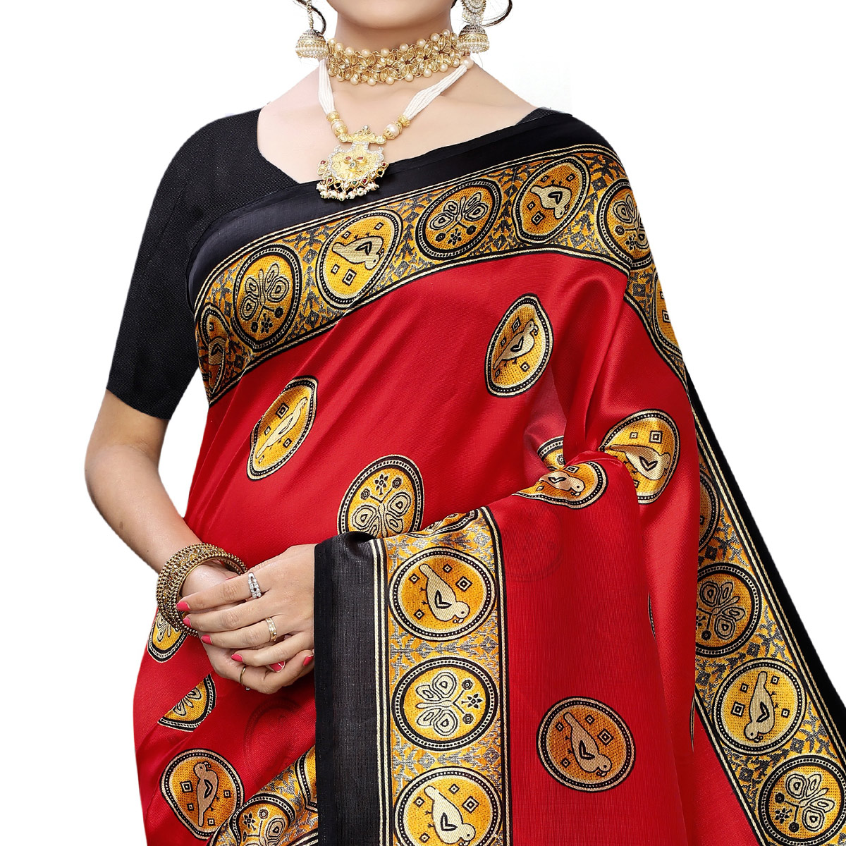 Ideal Red Colored Casual Wear Printed Art Silk Saree