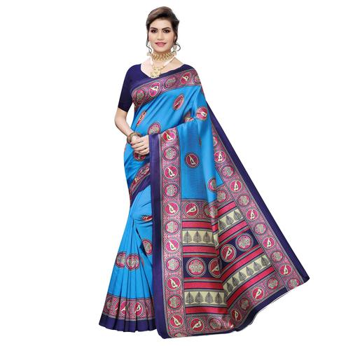 Imposing Sky Blue Colored Casual Wear Printed Art Silk Saree