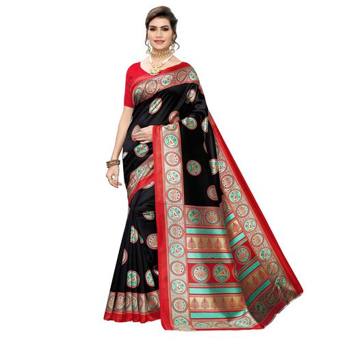 Lovely Black Colored Casual Wear Printed Art Silk Saree