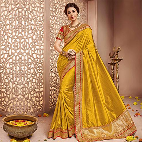 Golden - Red Festive Wear Saree