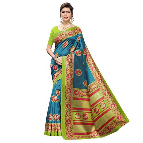 Majesty Blue Colored Casual Wear Printed Art Silk Saree