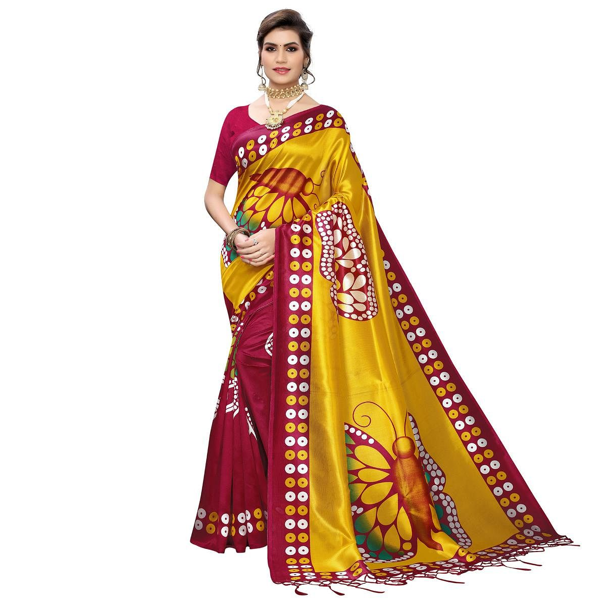 Intricate Pink-Yellow Colored Festive Wear Butterfly Printed Art Silk Saree With Tassels