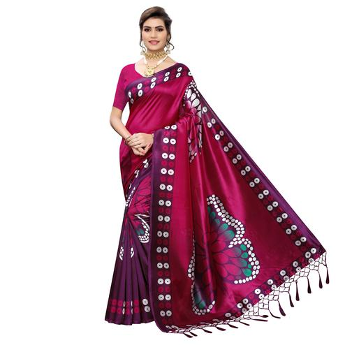 Arresting Pink Colored Festive Wear Butterfly Printed Art Silk Saree With Tassels