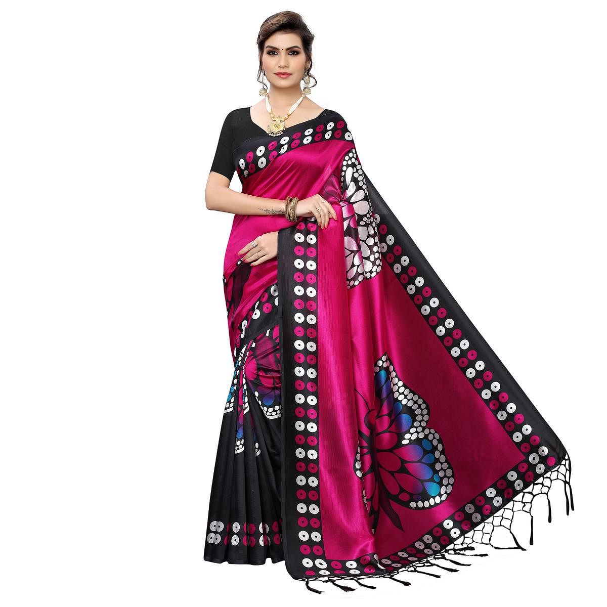 Desirable Black-Pink Colored Festive Wear Butterfly Printed Art Silk Saree With Tassels