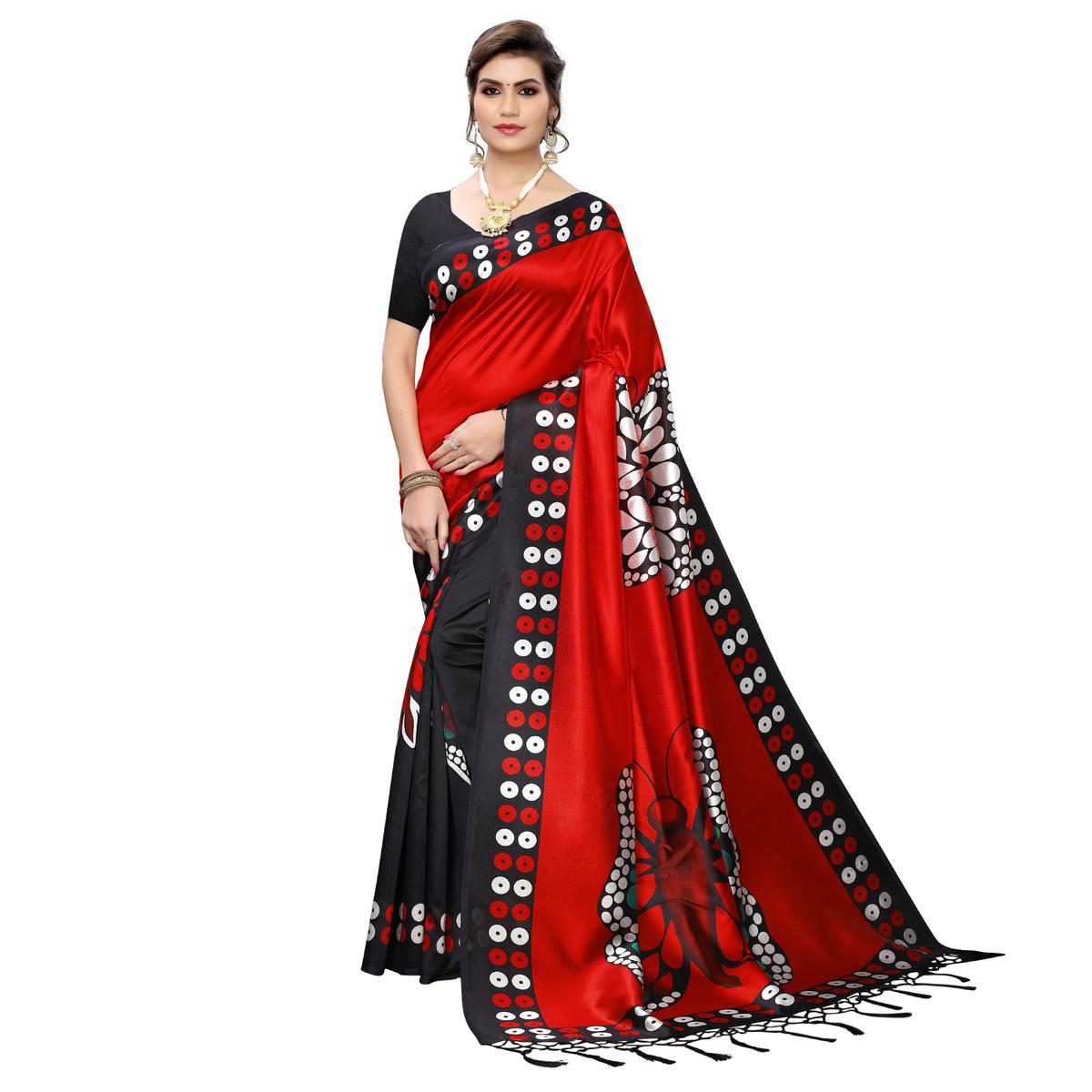 Exotic Black-Red Colored Festive Wear Butterfly Printed Art Silk Saree With Tassels