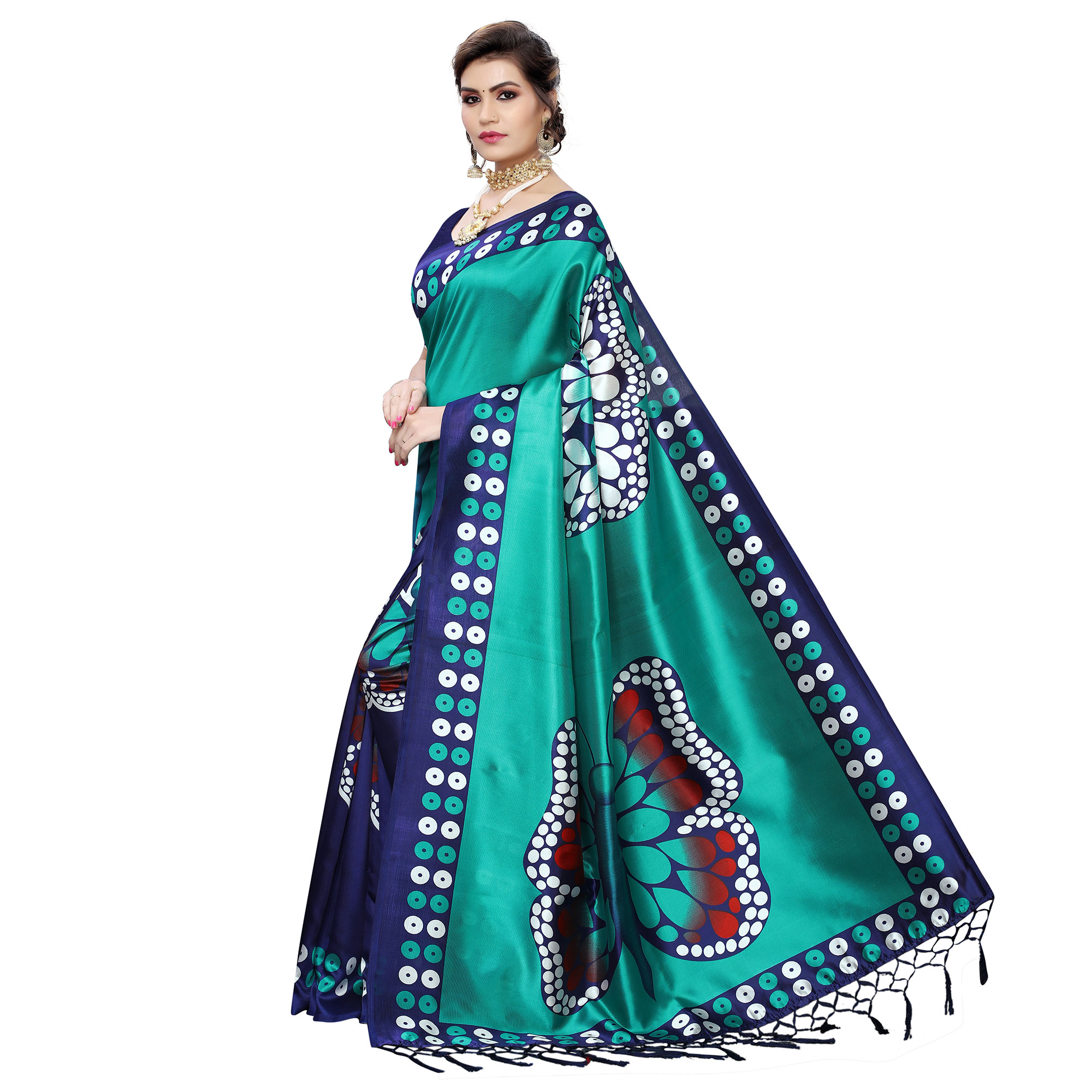 Trendy Navy Blue-Turquoise Colored Festive Wear Butterfly Printed Art Silk Saree With Tassels