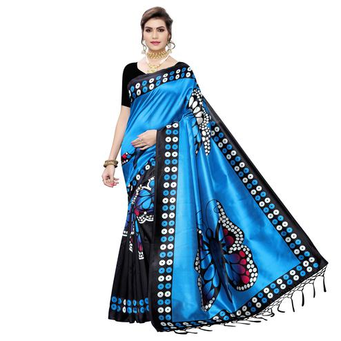 Elegant Black-Blue Colored Festive Wear Butterfly Printed Art Silk Saree With Tassels