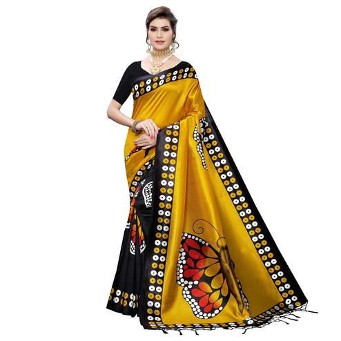 Radiant Black-Yellow Colored Festive Wear Butterfly Printed Art Silk Saree With Tassels