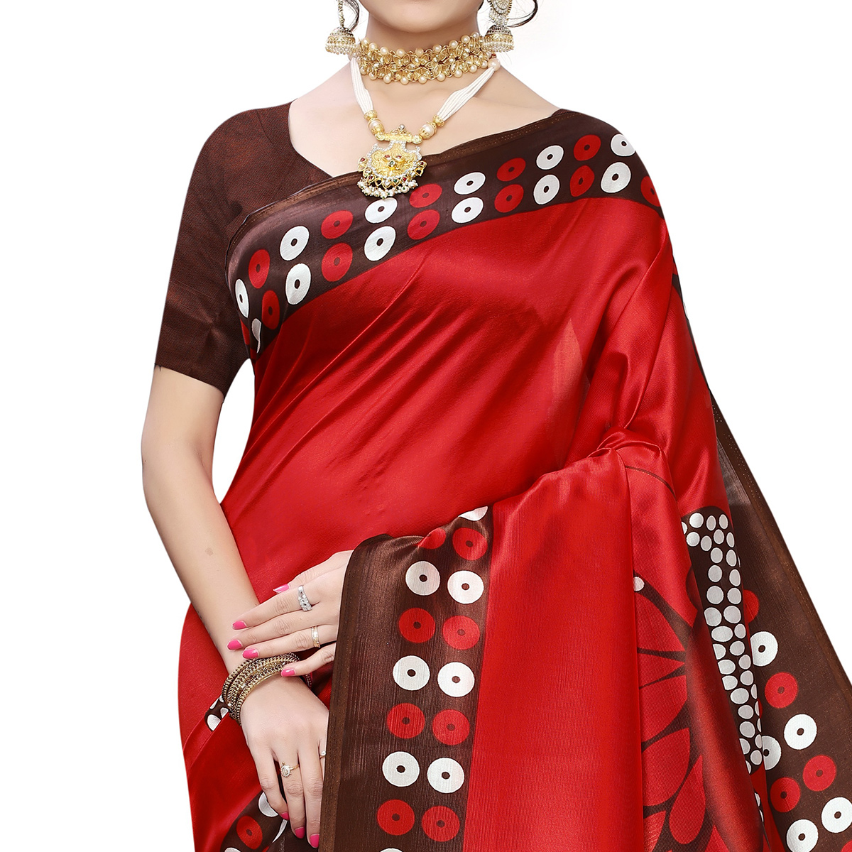 Pleasant Brown-Red Colored Festive Wear Butterfly Printed Art Silk Saree With Tassels