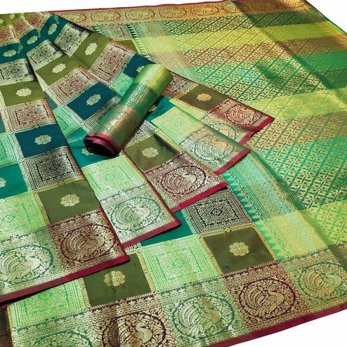 Intricate Multi-Green Colored Festive Wear Woven Silk Saree