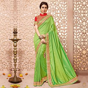 Green - Red Border Work Saree