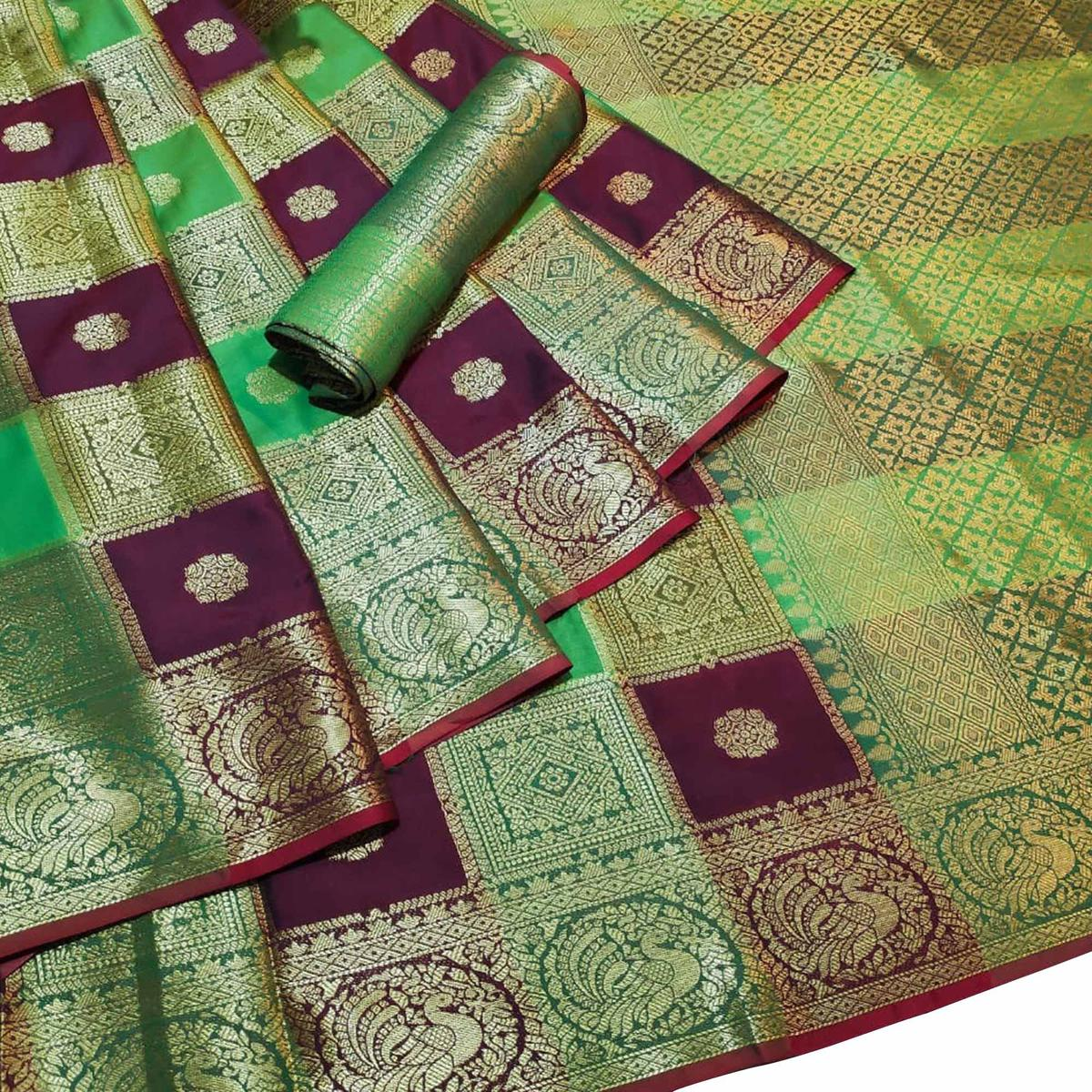 Desirable Multi-Green Colored Festive Wear Woven Silk Saree