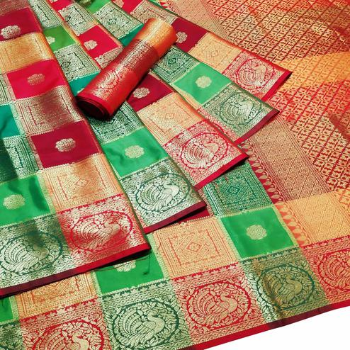 Classy Multi-Green Colored Festive Wear Woven Silk Saree