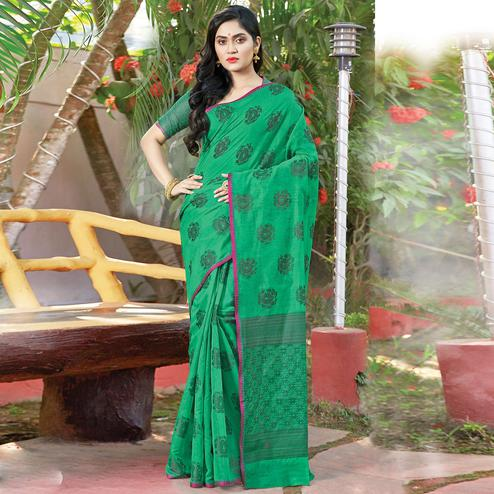 Impressive Ocean Green Colored Festive Wear Woven Cotton Handloom Saree