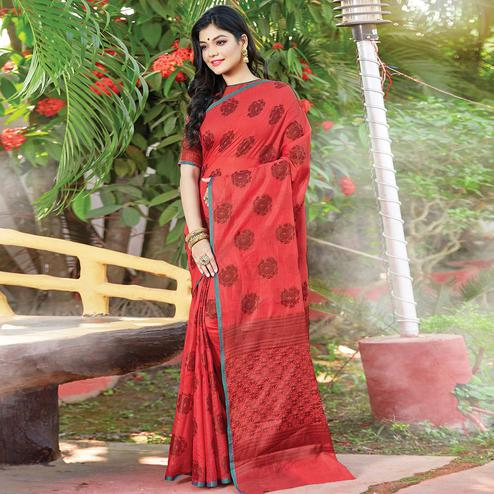 Lovely Red Colored Festive Wear Woven Cotton Handloom Saree