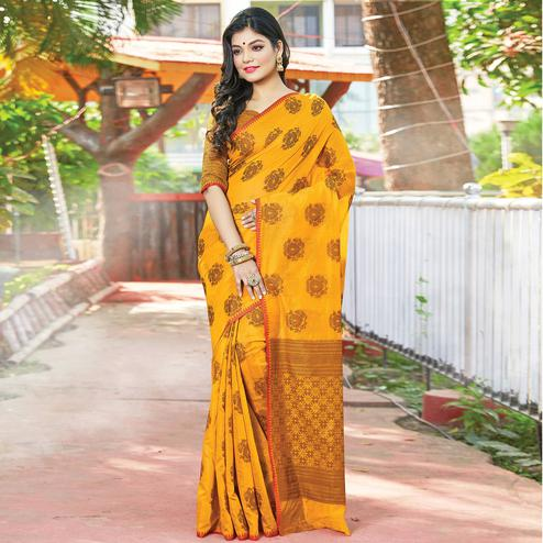 Blissful Mustard Yellow Colored Festive Wear Woven Cotton Handloom Saree