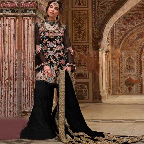 Flattering Black Colored Party Wear Embroidered Georgette Palazzo Suit