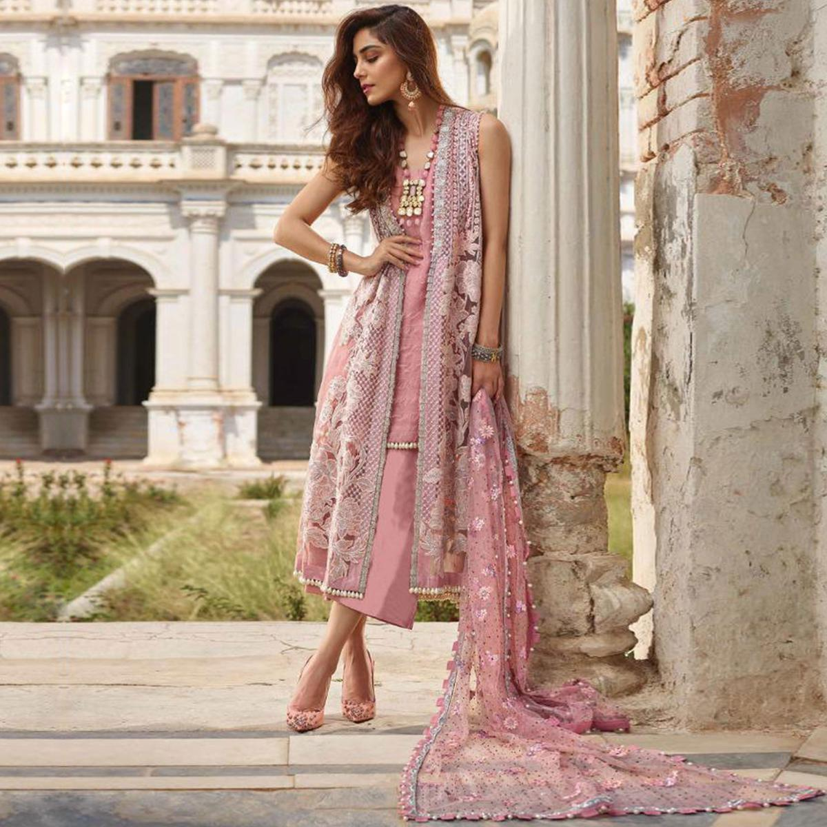 Excellent Pink Colored Party Wear Embroidered Net Palazzo Suit