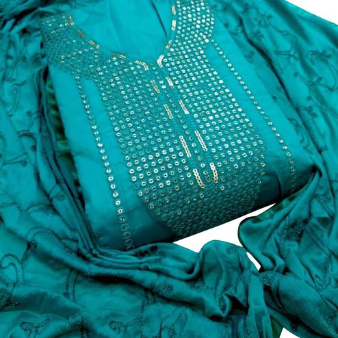 Intricate Rama Blue Colored Party Wear Embroidered Cotton Dress Material