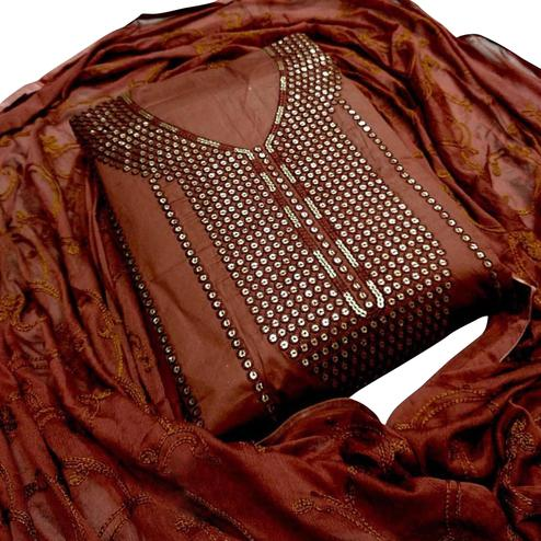 Arresting Brown Colored Party Wear Embroidered Cotton Dress Material