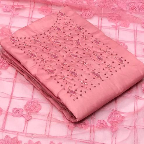 Pleasant Pink Colored Party Wear Embroidered Modal Dress Material