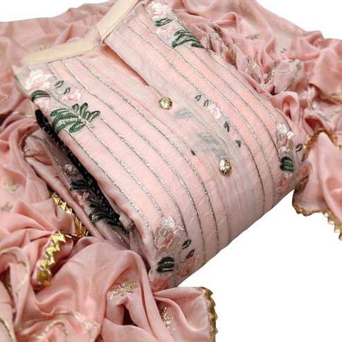 Mesmeric Peach Colored Party Wear Embroidered Modal Dress Material
